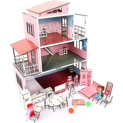 Oyuncak Ahşap Mobilyalı Çocuk Oyun Evi Seti 28 Parça Aksesuarlı