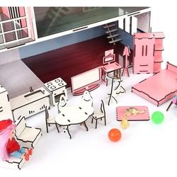 Oyuncak Ahşap Mobilyalı Çocuk Oyun Evi Seti 28 Parça Aksesuarlı - Thumbnail