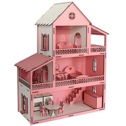 CC Oyuncak - Oyuncak Ahşap Pembe Ev Eşyalı 14 Parça Set Kargo Ücretsiz