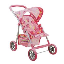 Sunman - Oyuncak Bebek Arabası 4 Tekerlekli Çilek Desenli