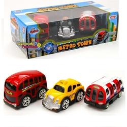 Motor Max - Oyuncak Metal Çekbırak Şehir Araçları 3 Parça (Metro Town) 10 Cm