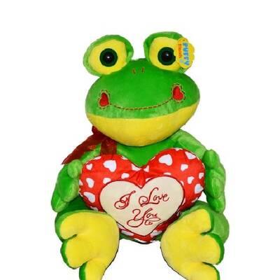 Oyuncak Peluş Kalpli Kurbağa 45 cm Kırmızı Kalpli Love Yazılı