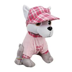 Sunman - Oyuncak Şapkalı Oturan Peluş Köpek Tişörtlü 30 Cm