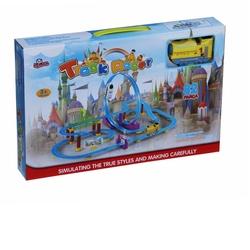 Vardem Oyuncak - Oyuncak Tur Tren Seti 82 Parça Hızlı Tren Lokomotifi (Sarı Mavi ) Kutulu Işıklı