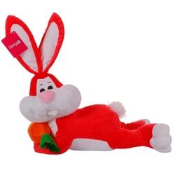 Selay - Oyuncak Yatan Peluş Tavşan 50 Cm Kırmızı