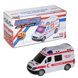 Can Oyuncak - Pilli Ambulans 3D Işıklı Oyuncak Sesli Işıklı Ambulans Arabası