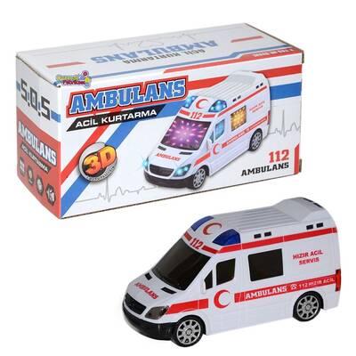 Pilli Ambulans 3D Işıklı Oyuncak Sesli Işıklı Ambulans Arabası