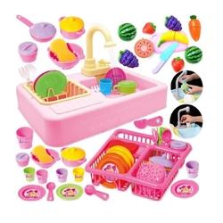 Kayyum Oyuncak - Pilli Modern Mutfak Lavabo Çeşmeli 25 Parça