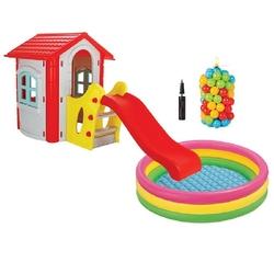 Pilsan Oyuncak - Pilsan 06 432 Kaydıraklı Mutlu Ev Gri -Top Havuzlu Set
