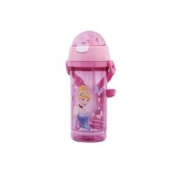 Disney - Pipetli Su Matarası Suluk Şeffaf Disney Prenses 500 ml