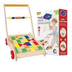 PlayWood-Onyıl - Play Wood Ahşap Oyuncak Eğitici Bloklu Araba Yürüyen Çek Çek Araba 51 Parça