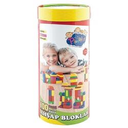 PlayWood-Onyıl - Play Wood Eğitici 100 Parça Renkli Ahşap Bloklar Silindir Kutuda