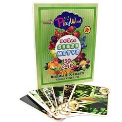 PlayWood-Onyıl - Play Wood Eğitici Resimli Bilgi Kartları Sebze ve Meyveler 50 Çeşit