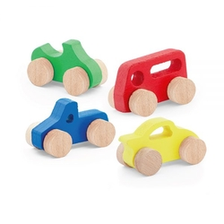 PlayWood - Play Wood Oyuncak Ahşap Araba Pakette 4 Adet