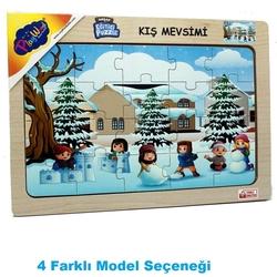 PlayWood - PlayWood 20 Parça Kış Mevsimi Ahşap Çocuk Puzzle Ahşap Eğitici Yapboz 4 Model