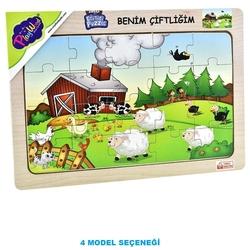 PlayWood - PlayWood Ahşap Eğitici Puzzle Çiftlik Hayvanları 20 Parça