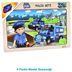 PlayWood - PlayWood Ahşap Eğitici Puzzle Polis Seti 20 Parça