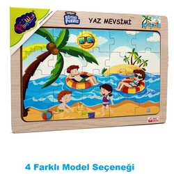 PlayWood - PlayWood Ahşap Eğitici Puzzle Yaz Mevsimi 20 Parça 4 Model