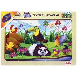PlayWood-Onyıl - PlayWood Ahşap Puzzle Sevimli Hayvanlar 20 Parça Ahşap Eğitici Yapboz 4 Model