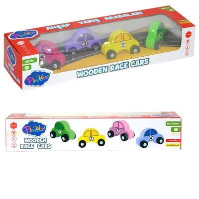 Playwood Ahşap Yarış Arabası 4'lü Set