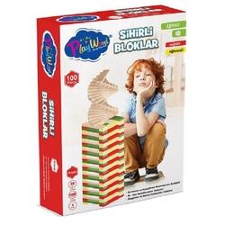 PlayWood-Onyıl - Playwood Eğitici Ahşap Oyun Renkli Sihirli Bloklar 100 Parça