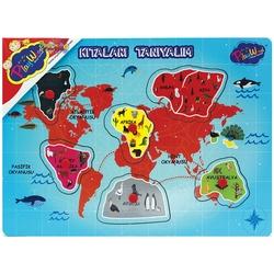 PlayWood-Onyıl - PlayWood Eğitici Ahşap Puzzle Tutmalı Kıtaları ve Bölgeleri Tanıyalım 6-7 Parça