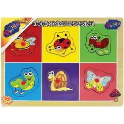 PlayWood-Onyıl - PlayWood Eğitici Ahşap Puzzle Tutmalı Küçük Sevimli Hayvanlar 6 Parça
