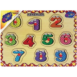 PlayWood-Onyıl - PlayWood Eğitici Ahşap Tutmaçlı Puzzle Rakamlar 9 Parça
