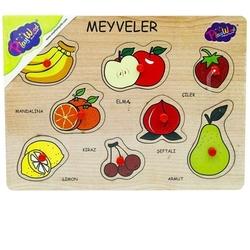 PlayWood-Onyıl - PlayWood Eğitici Ahşap Tutmalı Puzzle Sebzeler Meyvalar 8 Parça