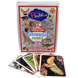 PlayWood - PlayWood Eğitici Hayvanlar Resimli Bilgi Kartları -Gör ve Tanı 50 Çeşit