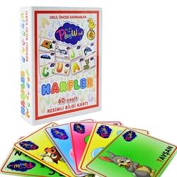 PlayWood-Onyıl - PlayWood Okul Öncesi Alfabe Harfler Eğitici Resimli 60 Parça Bilgi Kartları