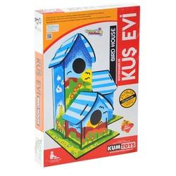 Redka - Redka Eğitici Ahşap Kuş Evi Boyanabilir Set 6 Renk Boya ve Fırça