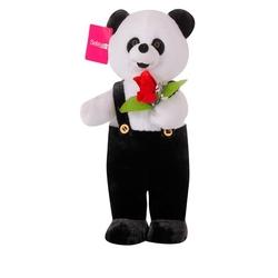 Selay - Selay Hediyelik Ayakta Tulumlu Çiçekli Panda 80 Cm