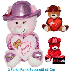 Selay - Selay Oyuncak Parlak Kumaşlı Şapkalı Kalpli Ayı 60 Cm