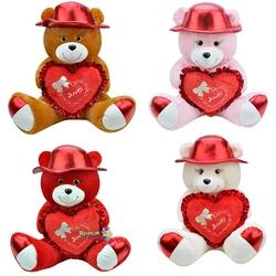 Selay - Selay Oyuncak Parlak Şapkalı Kalpli Peluş Ayı 50 Cm