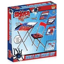 Furkan Toys - Spider Style Lisanslı Masa Sandalye Seti-Yazı Tahtalı-Kalemlikli