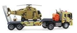 MEGA - Oyuncak Sürtmeli Sesli ve Işıklı Helikopter Taşıyıcı Kahverengi Tır