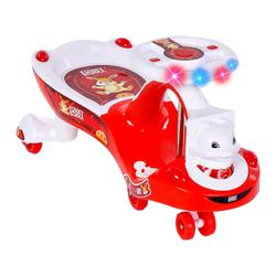 MEGA - Swing Car Tavşan Sesli ve Işıklı Kırmızı-Beyaz