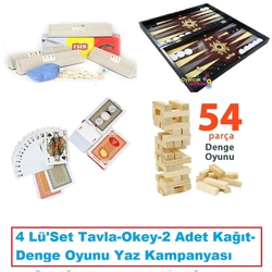 OyuncakFabrikasi - Tavla -Okey-Oyun Kağıdı 2 Adet-Denge Oyunu 4'Lü Set Kargo Bedava
