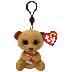 TY - TY Bella - Brown Bear W/Candy Cane Peluş Anahtarlık