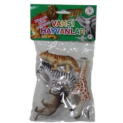 Vahşi Hayvanlar Poşetli 4'lü Figür Hayvan Seti 10 cm