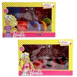 Barbie - Vardem Barbie Oyuncak Metal Tencere Tava Seti Yapışmaz 11 Parça 3 Asorti