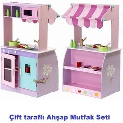 Mentari - Vardem Mentari Eğitici Ahşap Aksesuarlı Çift Yönlü Mutfak Set