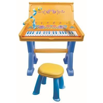 Vardem Oyuncak Çocuk Tabureli Masa ve Elektronik Org Mavi