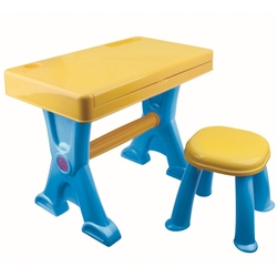 Vardem Oyuncak Çocuk Tabureli Masa ve Elektronik Org Mavi - Thumbnail