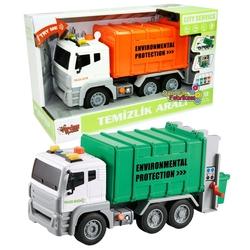 Vardem Oyuncak - Vardem Oyuncak Çöp kamyonu Temizlik Aracı 1:12 Sürtmeli Işıklı Sesli