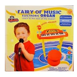Vardem Oyuncak - Vardem Tabureli Çiçekli Mikrofonlu Mp3 Çalan Org Kırmızı Renk