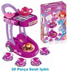 Furkan Toys - Winx Arabalı Oyuncak Çay Seti Işıklı Sesli Aksesuarlı