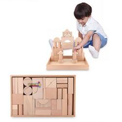 Woodoy-Karsan Ahşap - Wodooy Eğitici Naturel Ahşap Oyuncak Bloklar 35 Parça