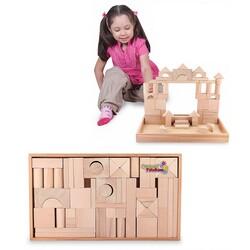 Woodoy-Karsan Ahşap - Wodooy Naturel Ahşap Oyuncak Bloklar 54 Parça